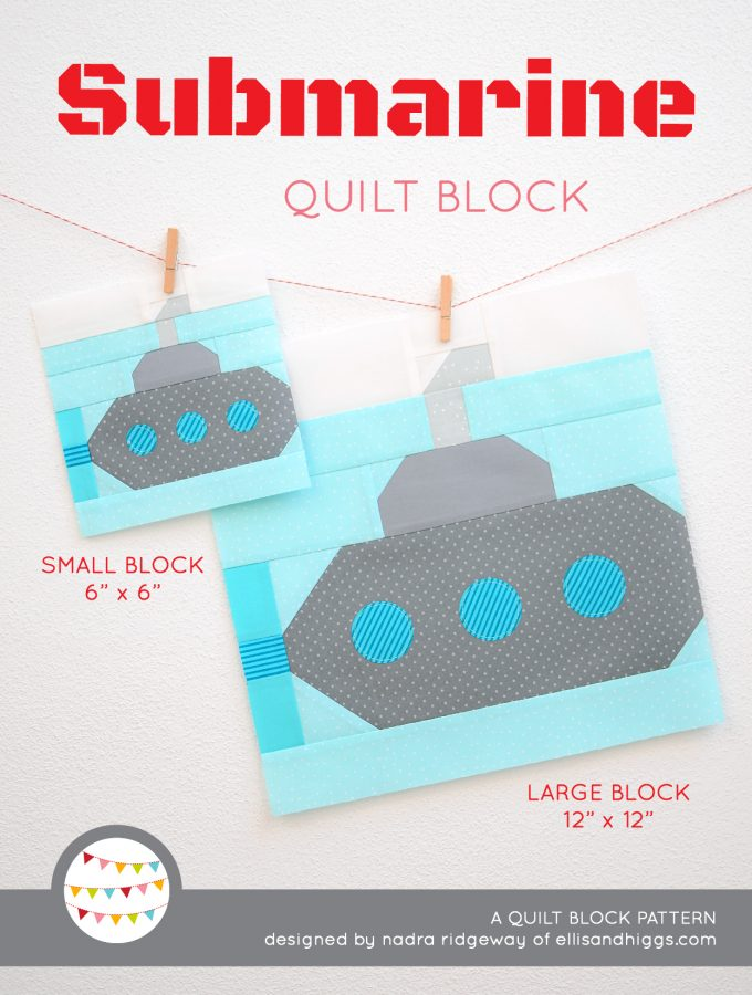 Submarine quilt block in two sizes hanging on a wall