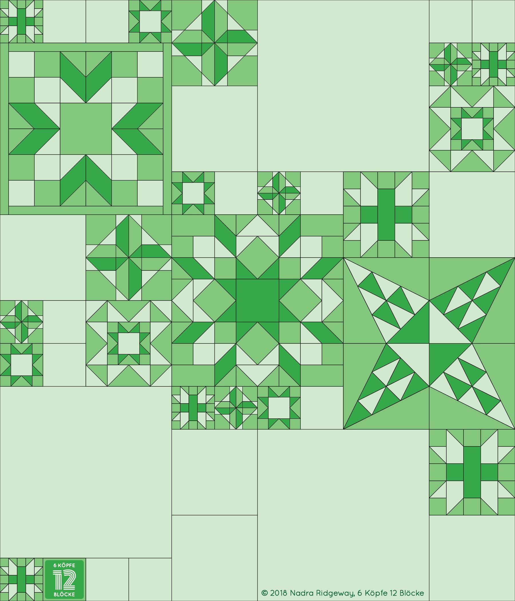 Der Eight Hands Around Quilt Block ist das sechste Muster des 2019er 6 Köpfe 12 Blöcke - Quilts. Das Tutorial findest du bei Katharina von greenfietsen!