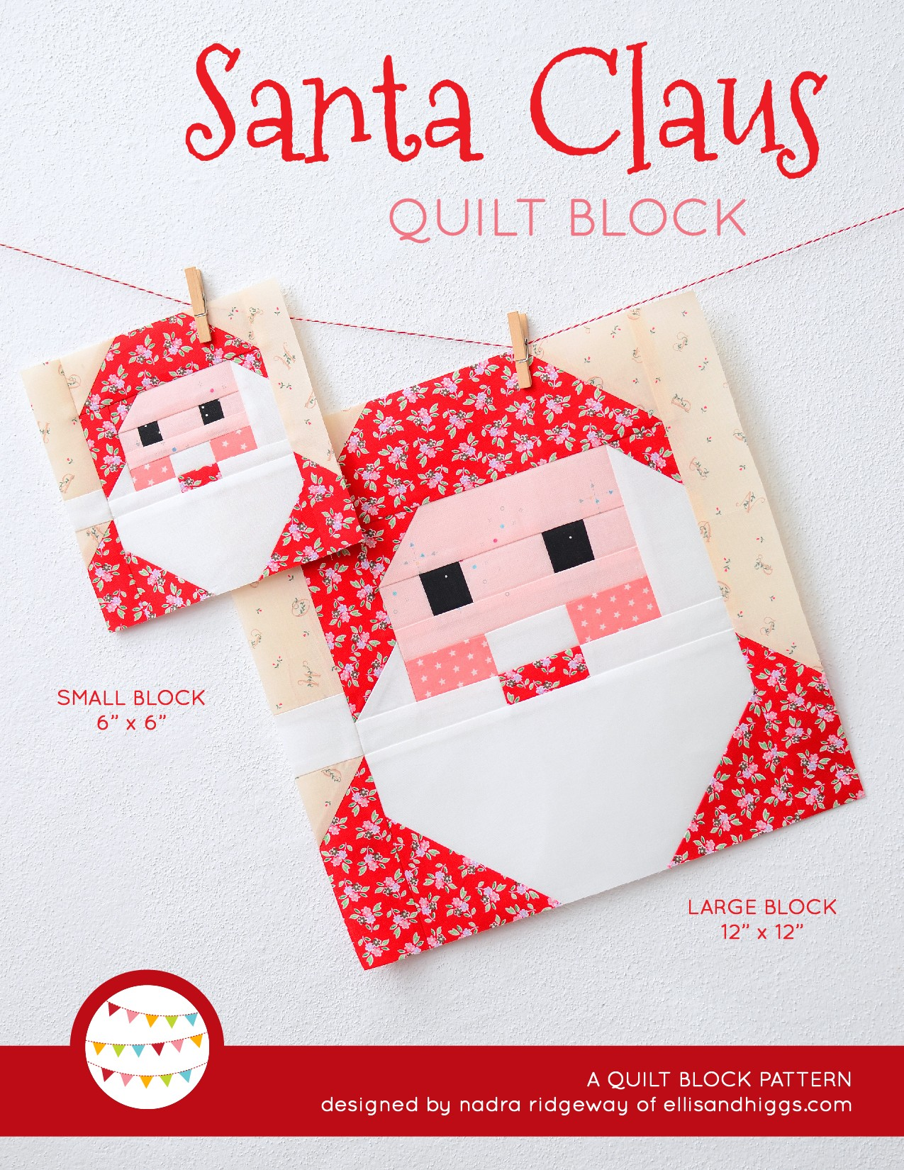 Santa Claus quilt block in two sizes hanging on a wall
