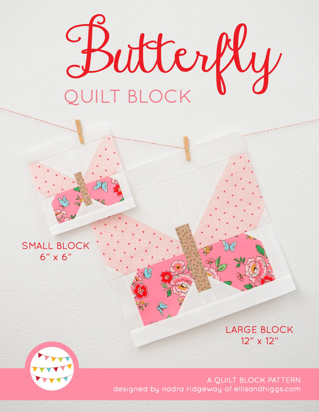 Butterfly quilt block in two sizes hanging on a wall