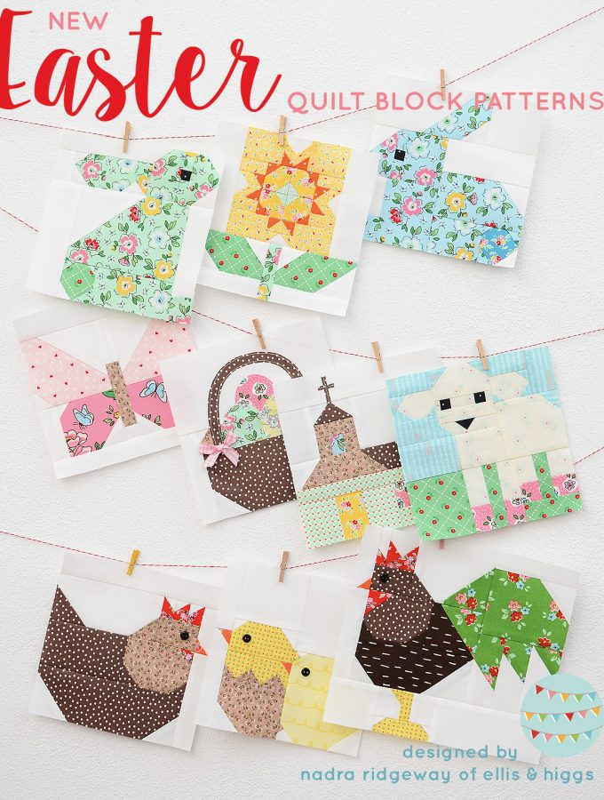 Ten Easter quilt blocks hanging on the wall.