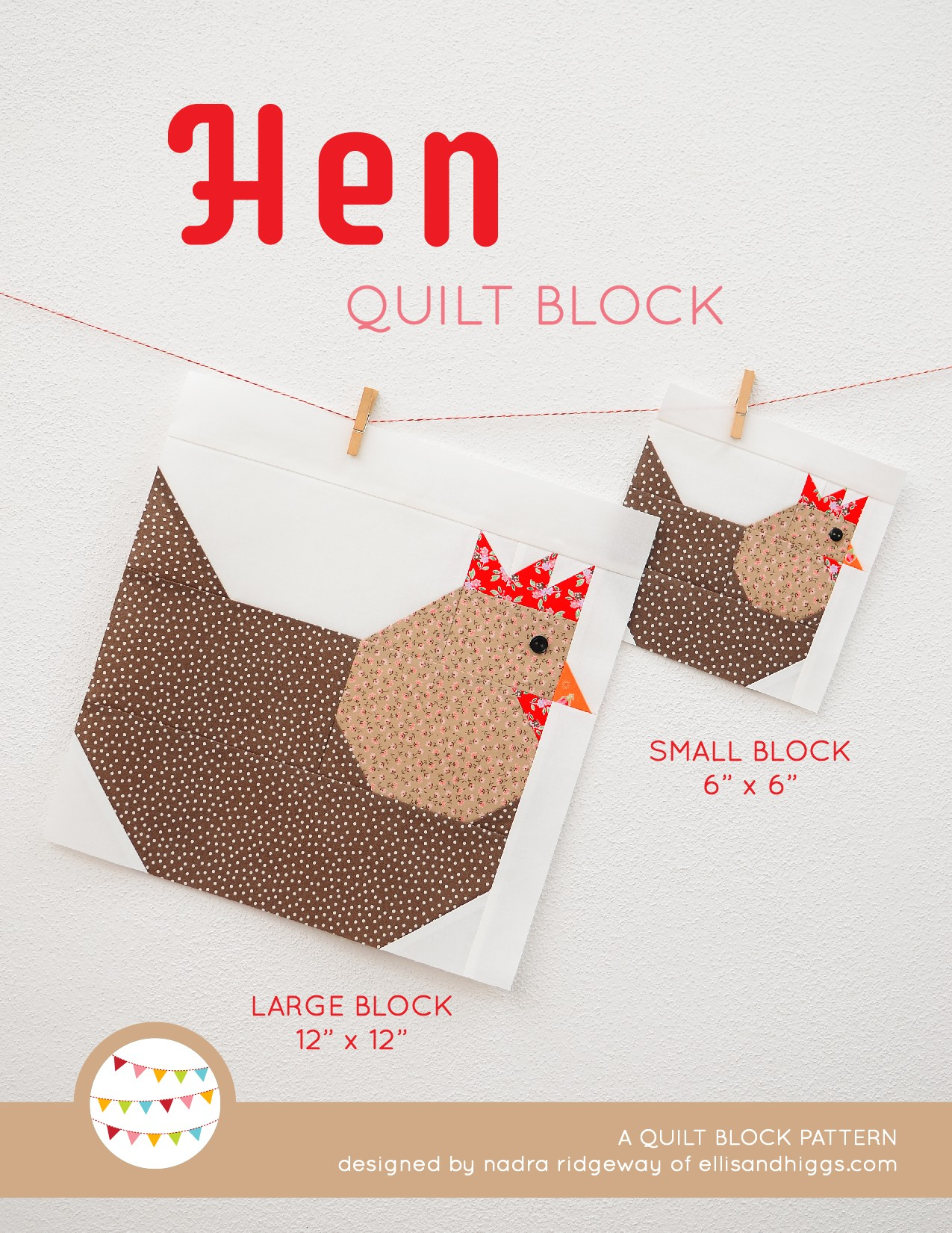 Hen quilt block in two sizes hanging on a wall