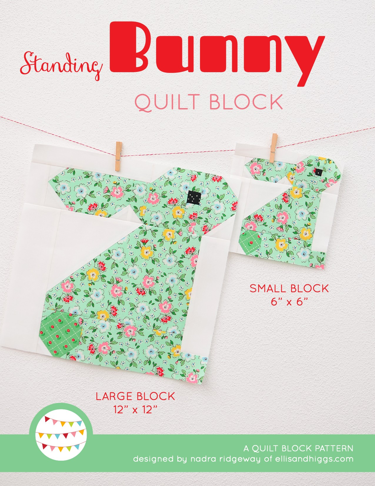Standing Bunny quilt block in two sizes hanging on a wall