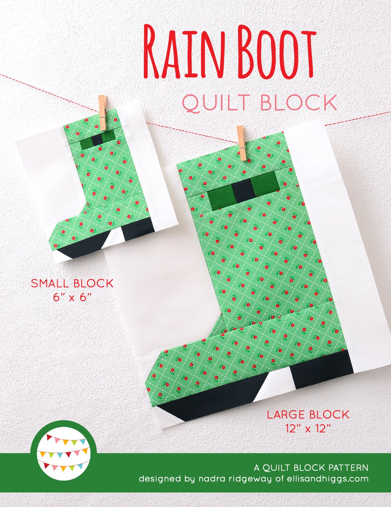 Rain Boots quilt block in two sizes hanging on a wall