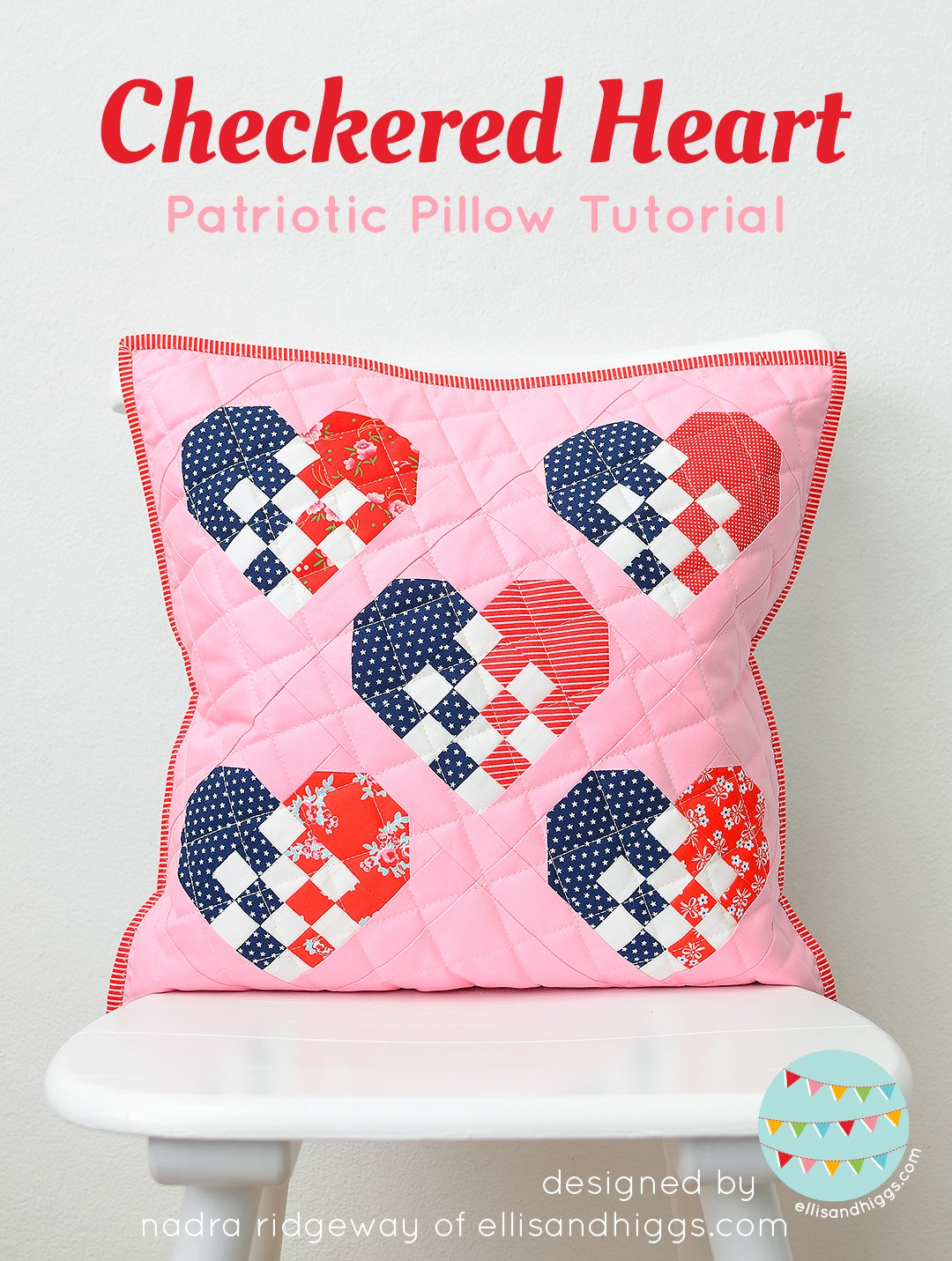 Patriotic pillow with hearts in red, white and blue
