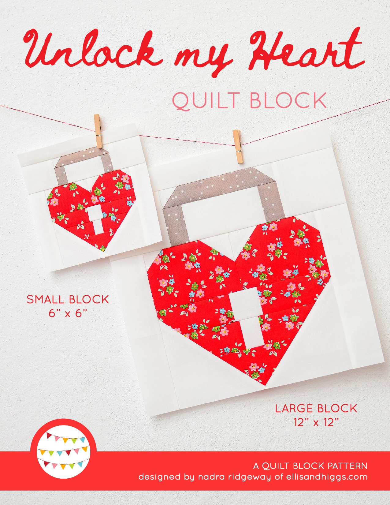 Padlock Heart quilt block in two sizes hanging on a wall