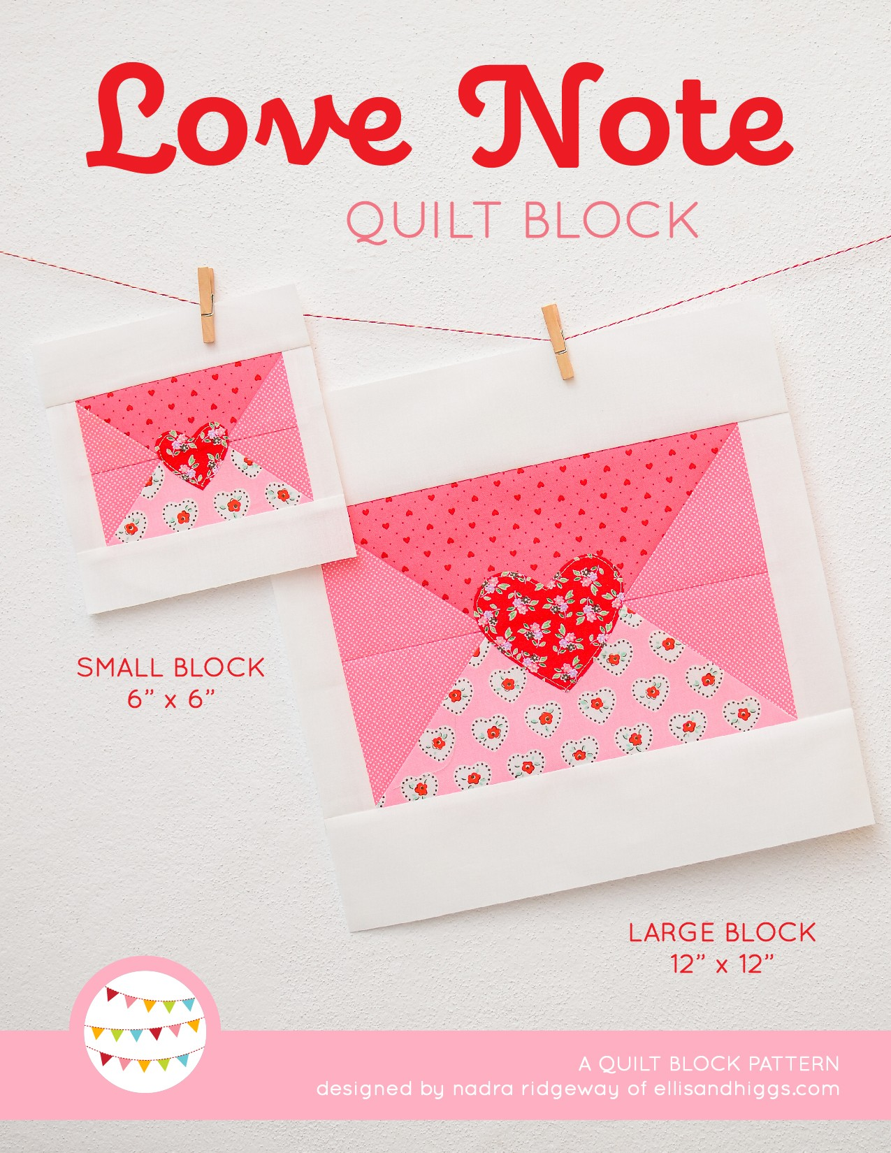 Love Letter quilt block in two sizes hanging on a wall
