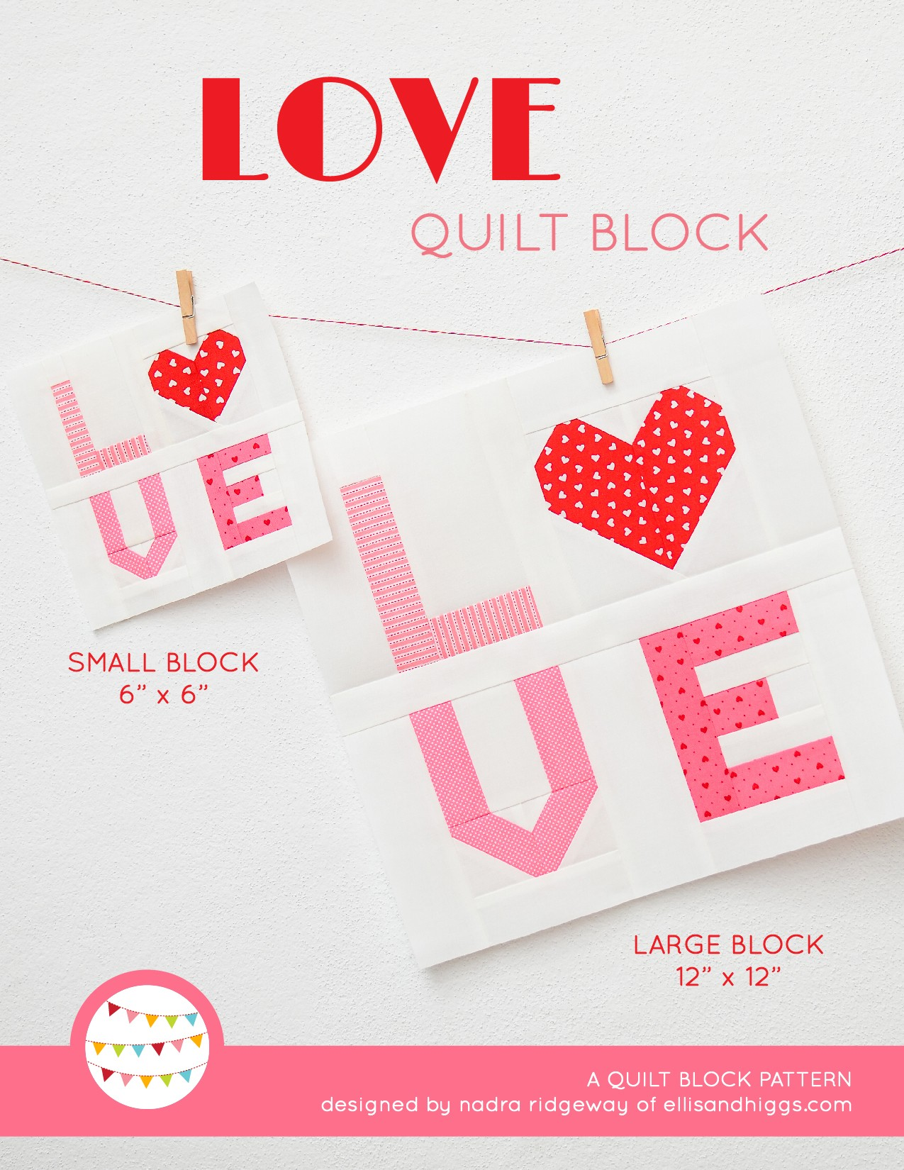 Love Sign quilt block in two sizes hanging on a wall