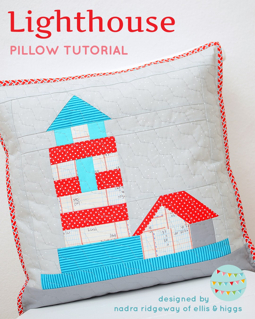 Quilted pillow with a lighthouse design