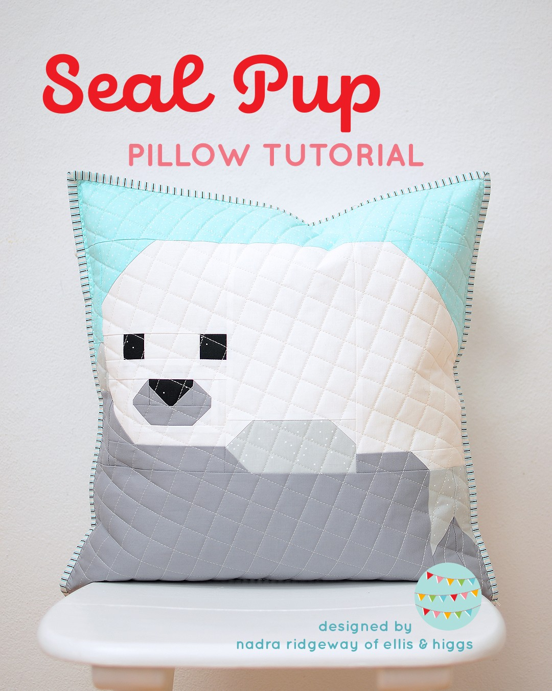 Quilted pillow with a seal pup design