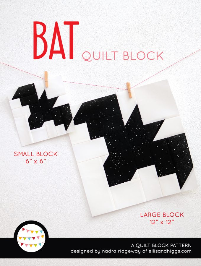 Bat quilt block in two sizes hanging on a wall