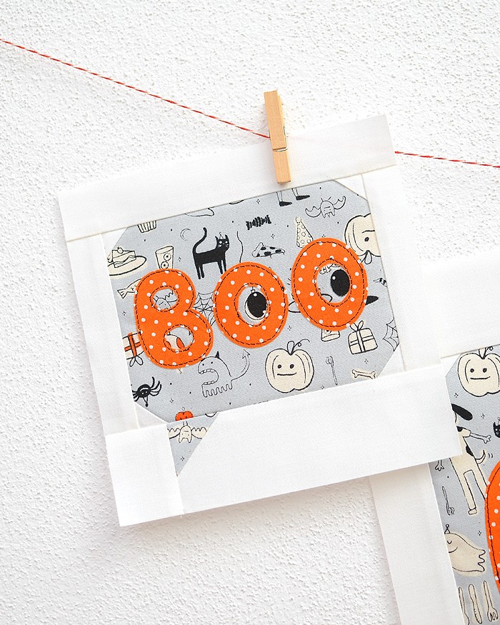 6 Inch Boo quilt block hanging on a wall