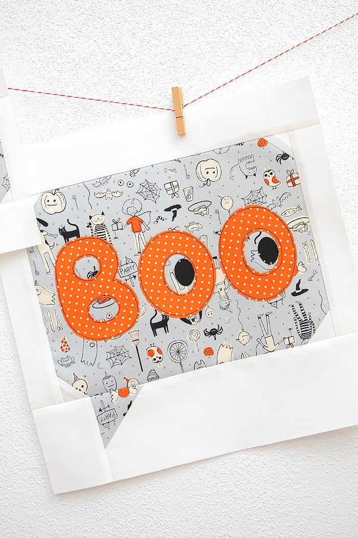 12 Inch Boo quilt block hanging on a wall
