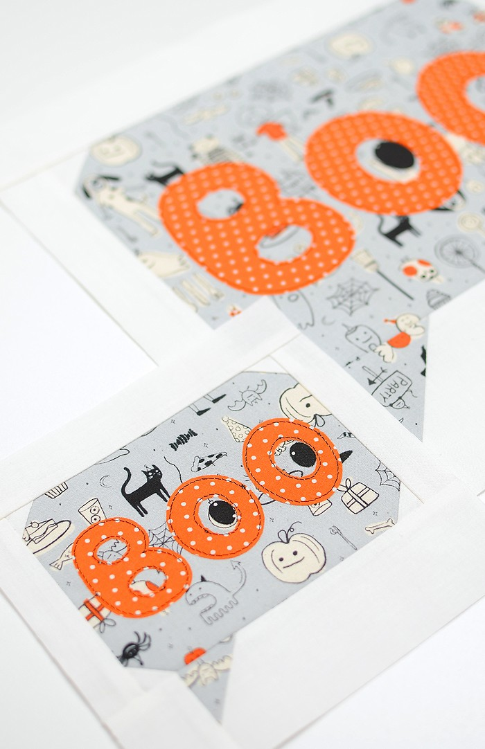Boo quilt block in two sizes