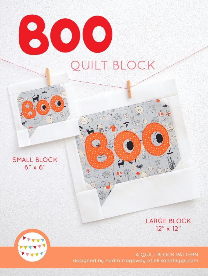 Boo quilt block in two sizes hanging on a wall