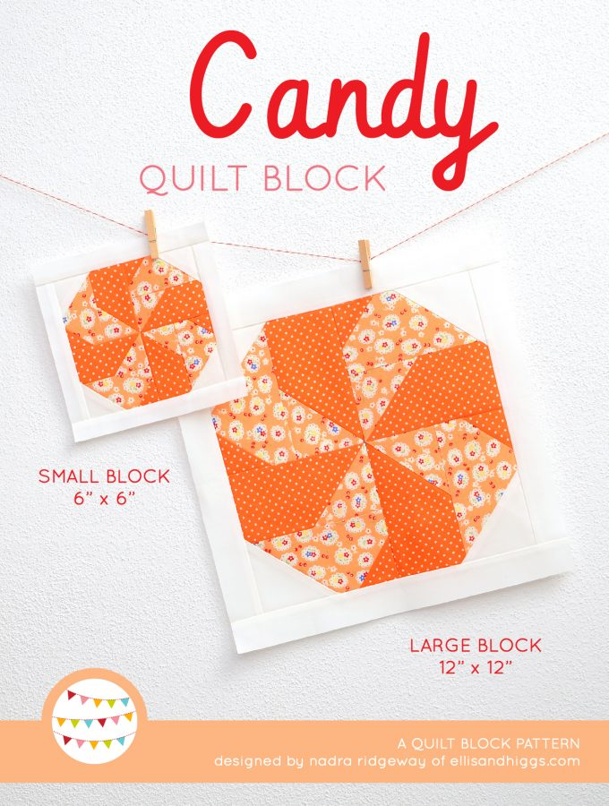 Candy quilt block in two sizes hanging on a wall