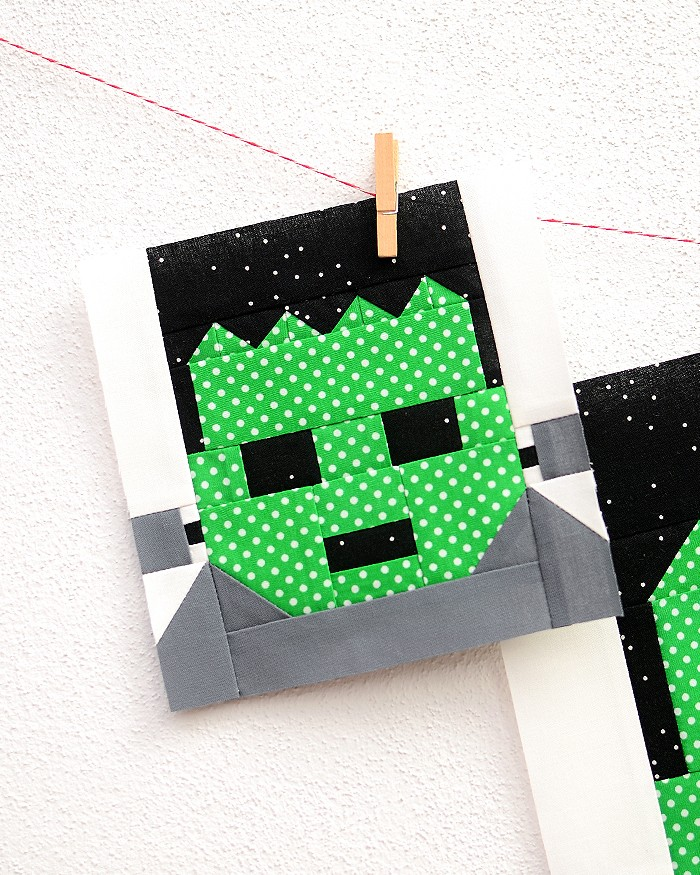 6 Inch Frankenstein quilt block hanging on a wall
