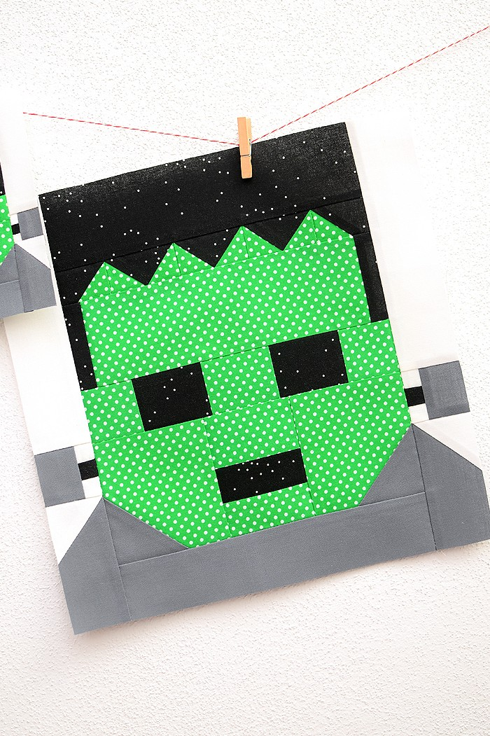 12 Inch Frankenstein quilt block hanging on a wall