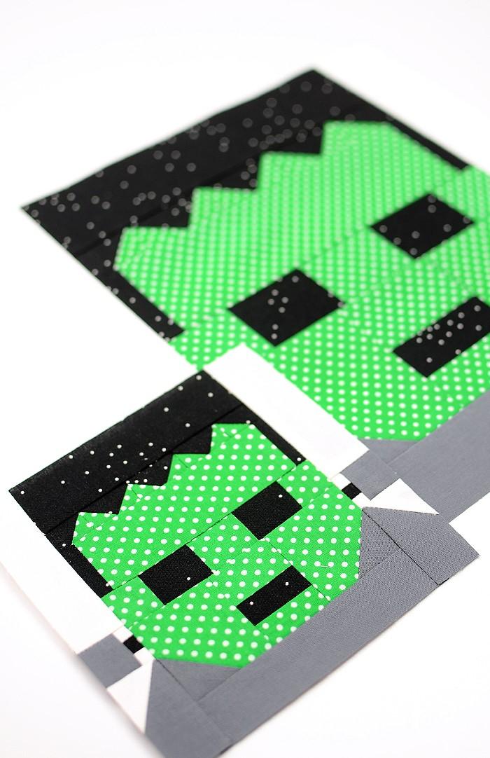 Frankenstein quilt block in two sizes