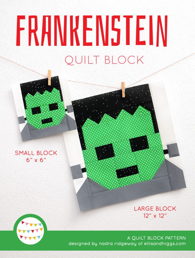 Frankenstein quilt block in two sizes hanging on a wall
