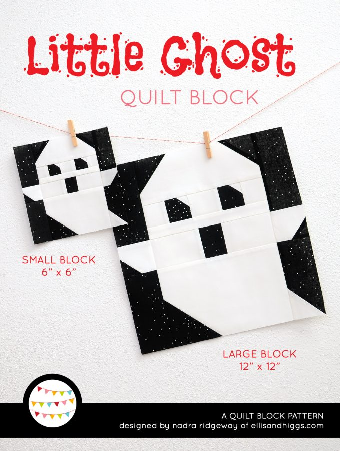 Ghost quilt block in two sizes hanging on a wall