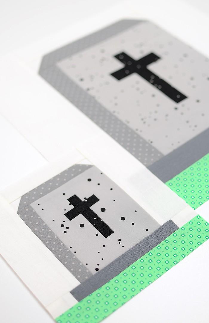 Gravestone quilt block in two sizes