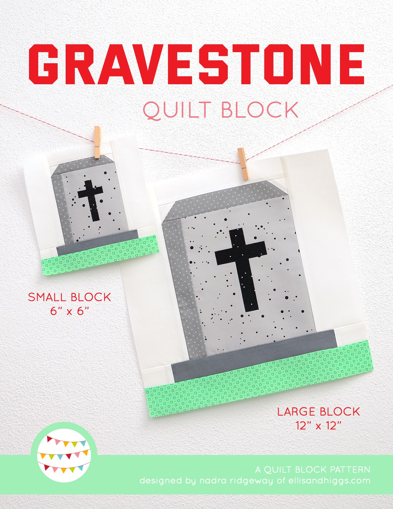Gravestone quilt block in two sizes hanging on a wall