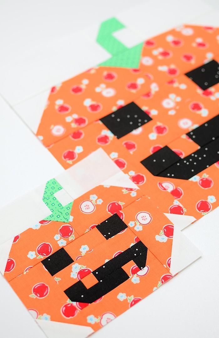 Pumpkin quilt block in two sizes