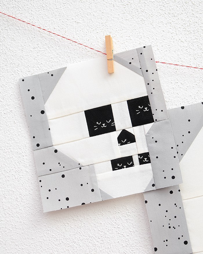 6 Inch Skull quilt block hanging on a wall