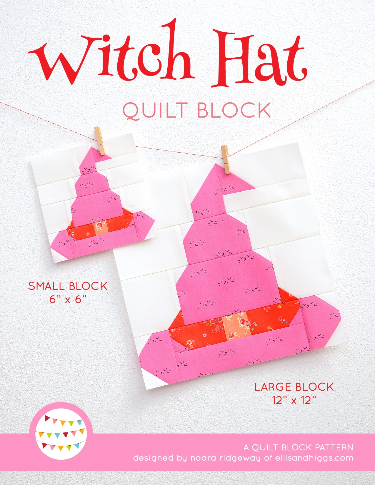 Witch Hat quilt block in two sizes hanging on a wall