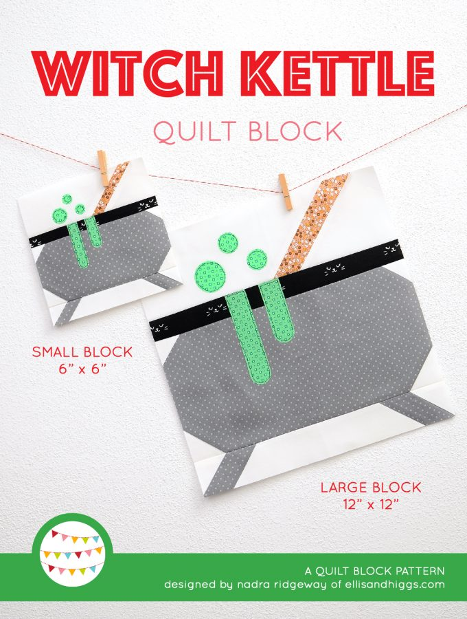Witch Kettle quilt block in two sizes hanging on a wall