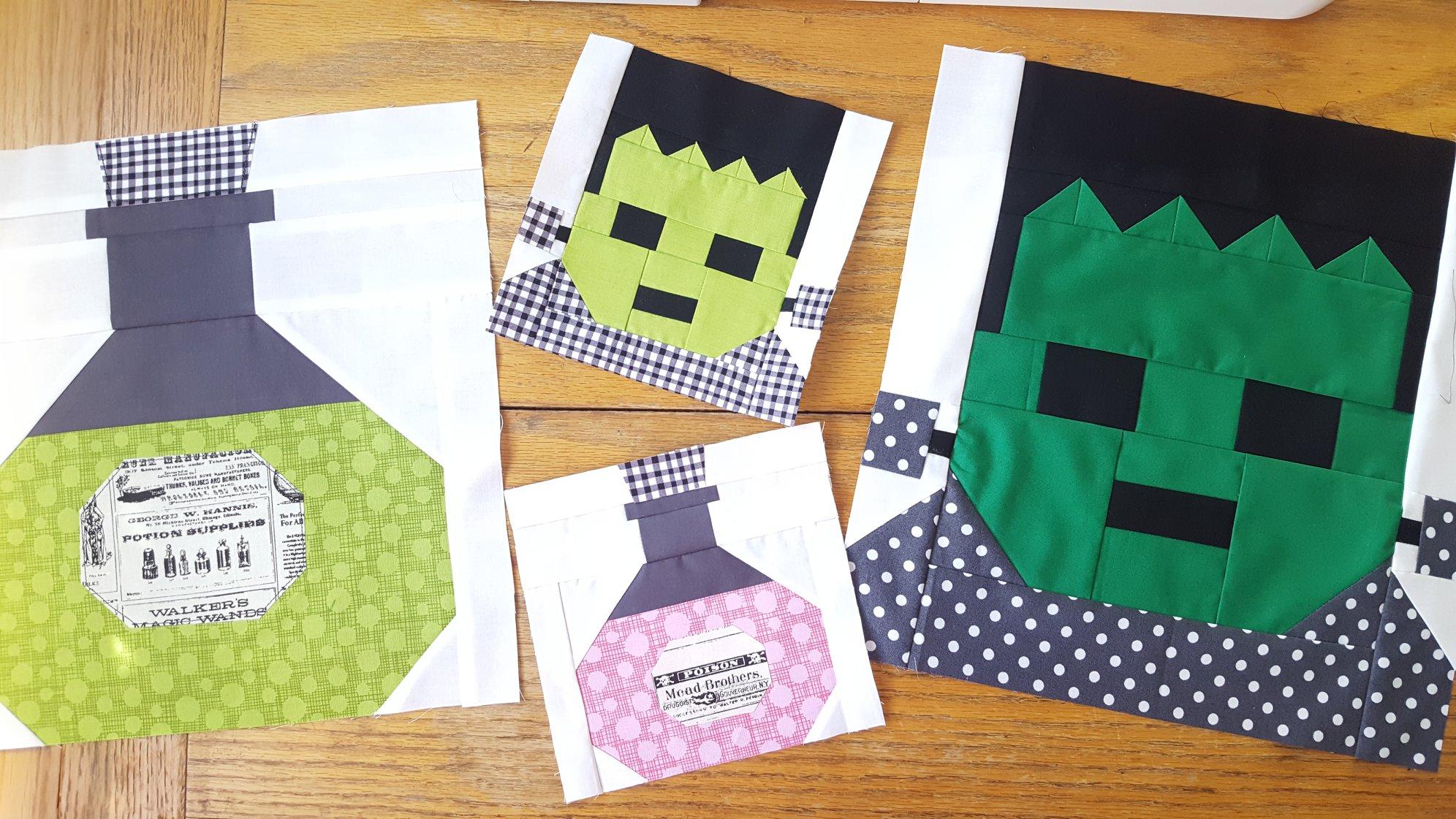 Frankenstein quilt blocks