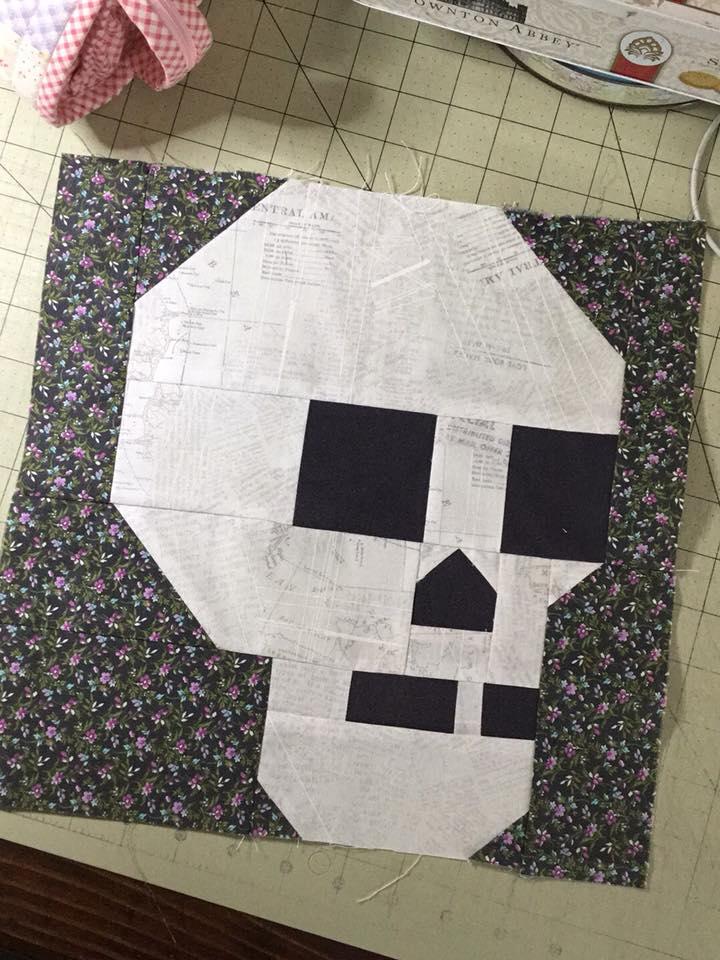 Skull quilt block