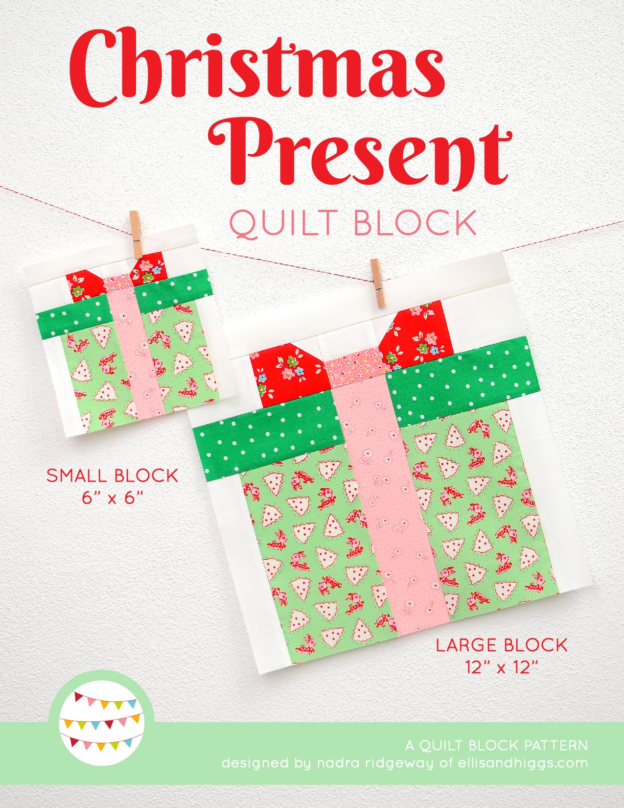 Christmas Present quilt block in two sizes hanging on a wall - Christmas quilt pattern