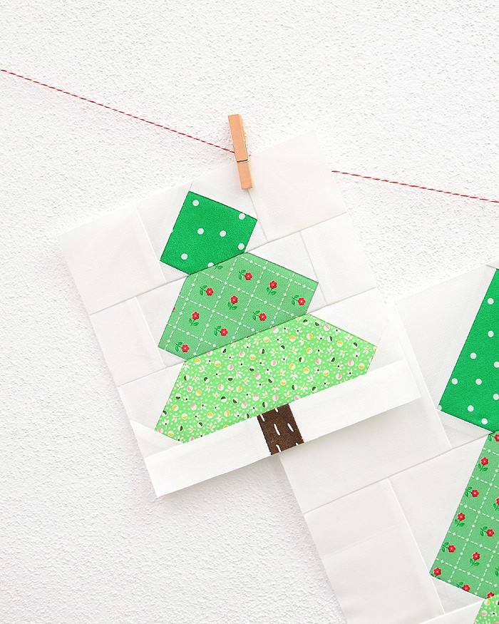 6 Inch Christmas Tree quilt block hanging on a wall