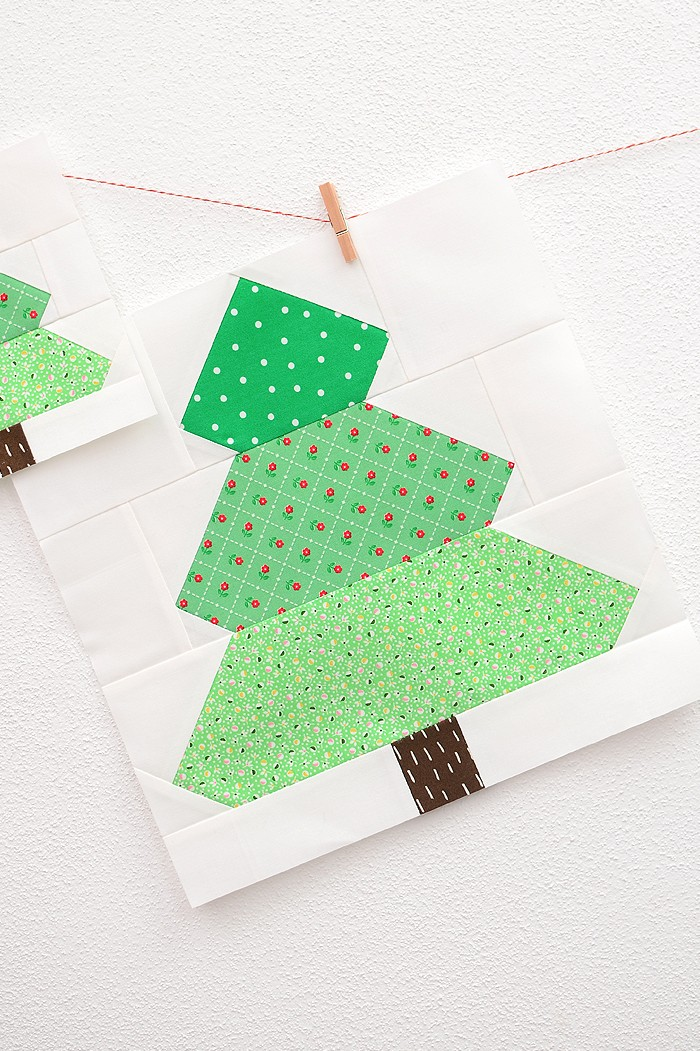 12 Inch Christmas Tree quilt block hanging on a wall