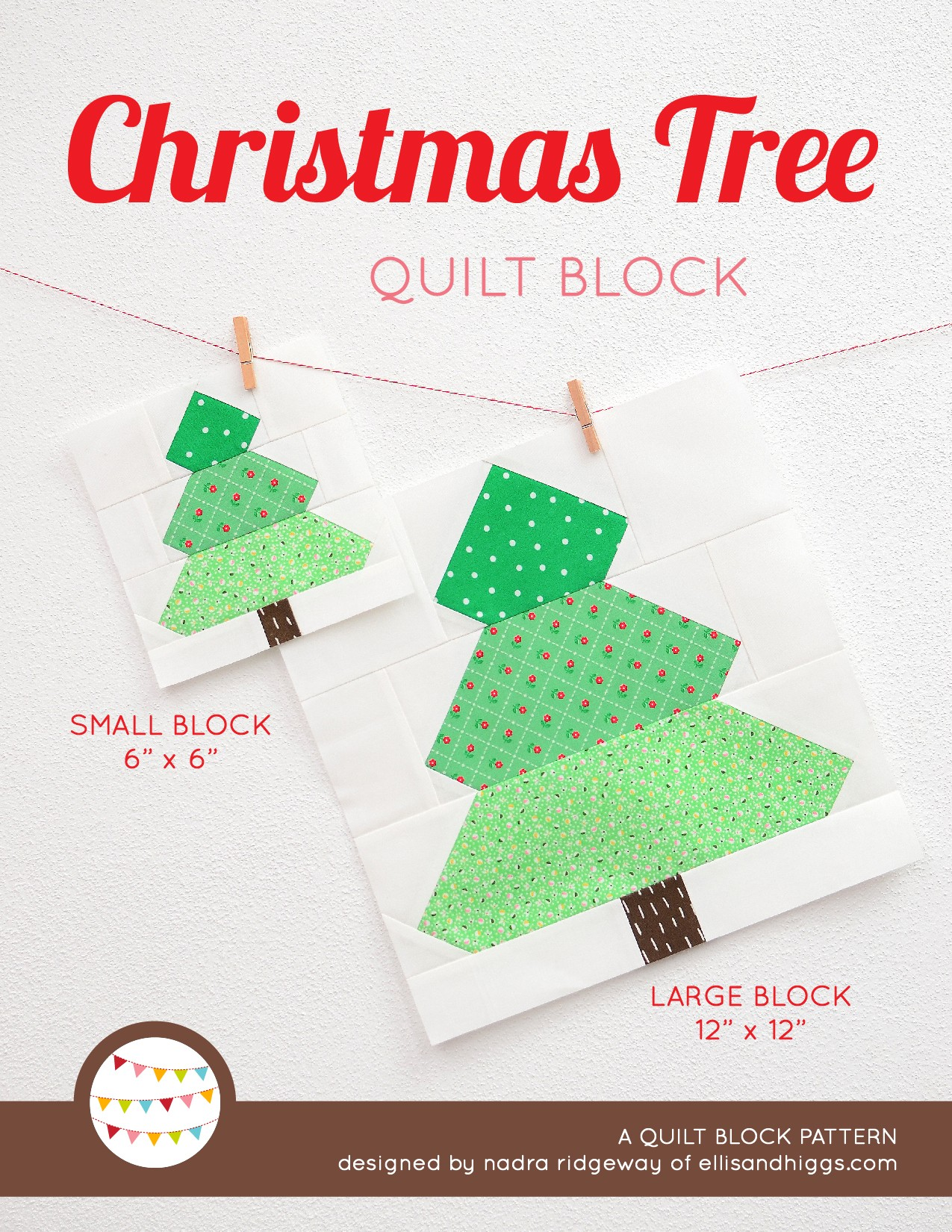 Christmas Tree quilt block in two sizes hanging on a wall - Christmas quilt pattern