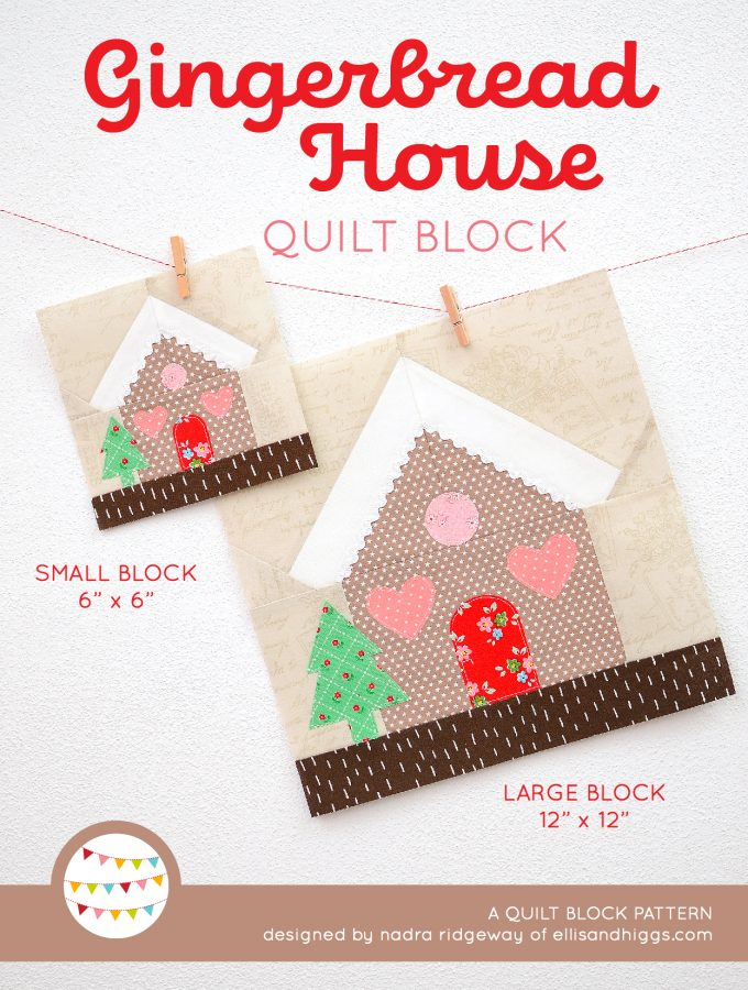 Gingerbread House quilt block in two sizes hanging on a wall - Christmas quilt pattern