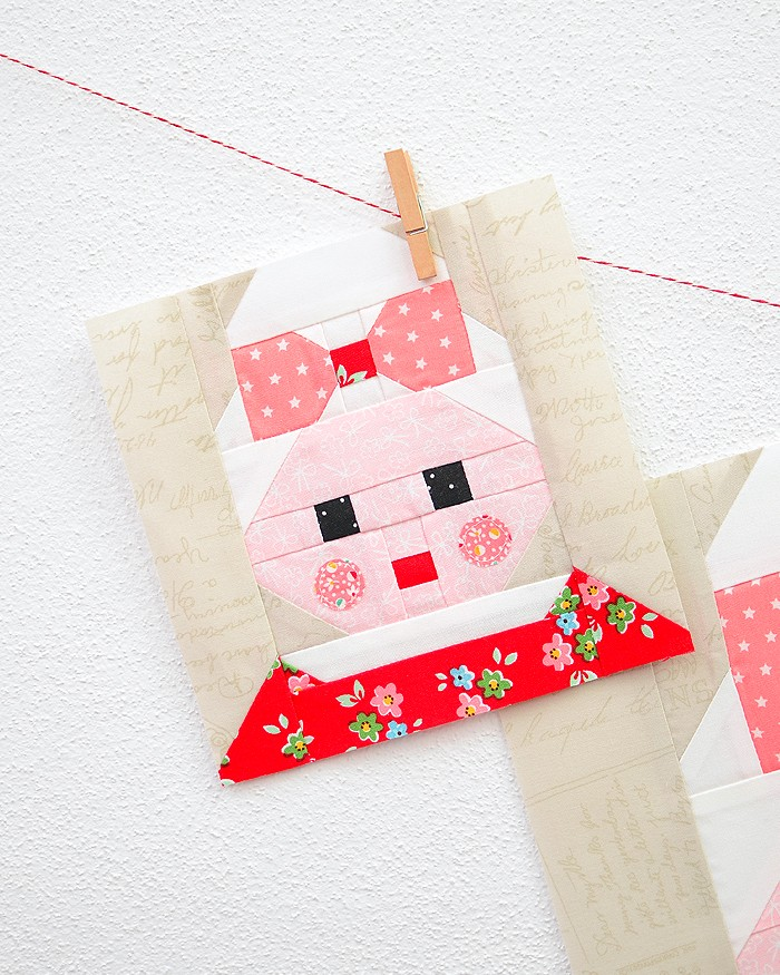 6 Inch Mrs Santa Claus quilt block hanging on a wall