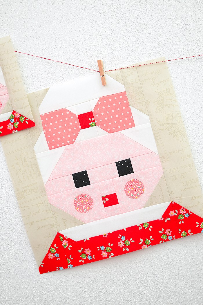 12 Inch Mrs Santa Claus quilt block hanging on a wall