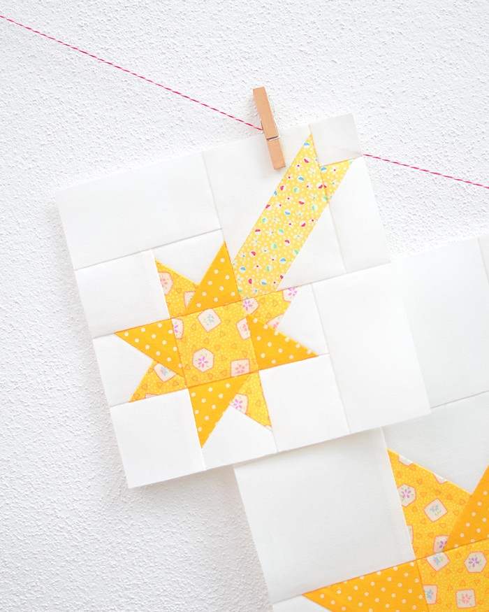 6 Inch Star quilt block hanging on a wall