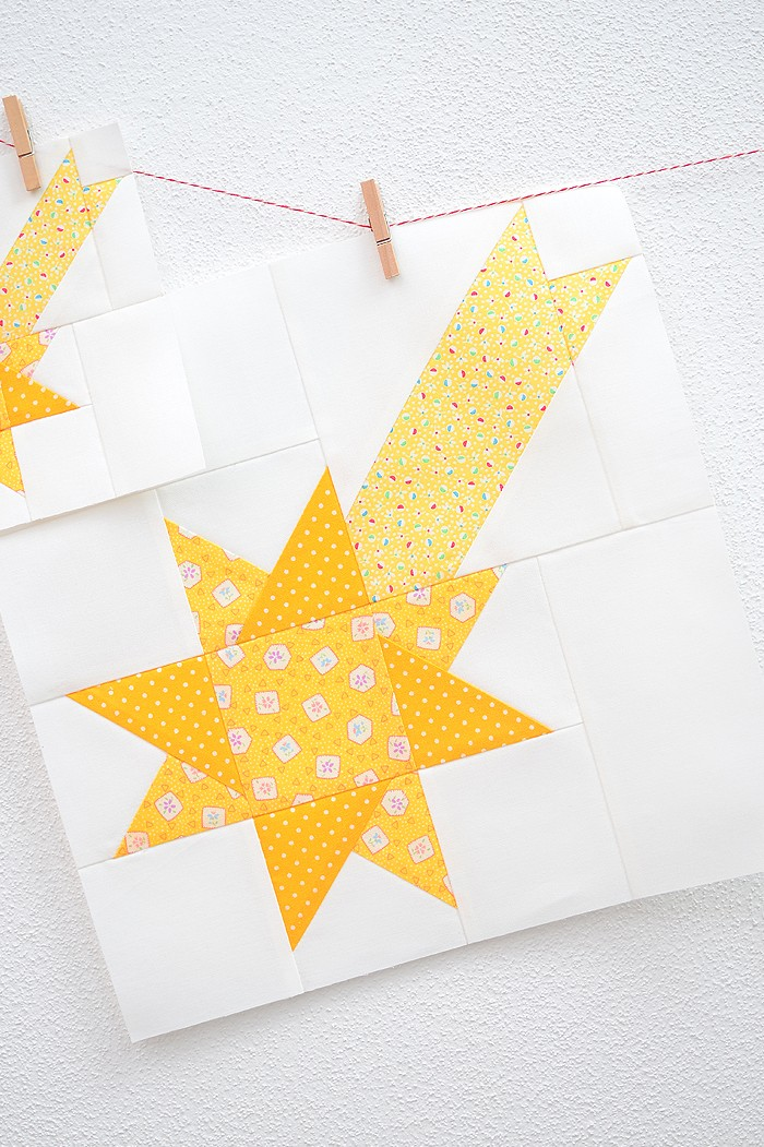 12 Inch Star quilt block hanging on a wall