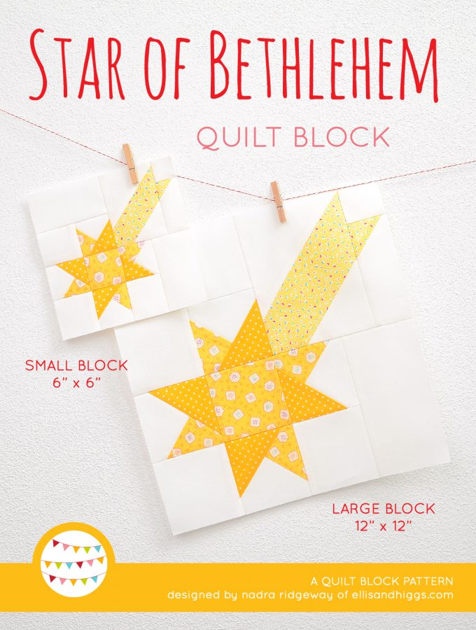 Star quilt block in two sizes hanging on a wall - Christmas quilt pattern