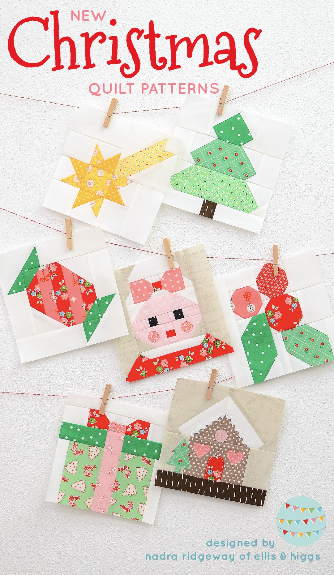 Christmas quilt patterns - Christmas quilt blocks hanging on the wall