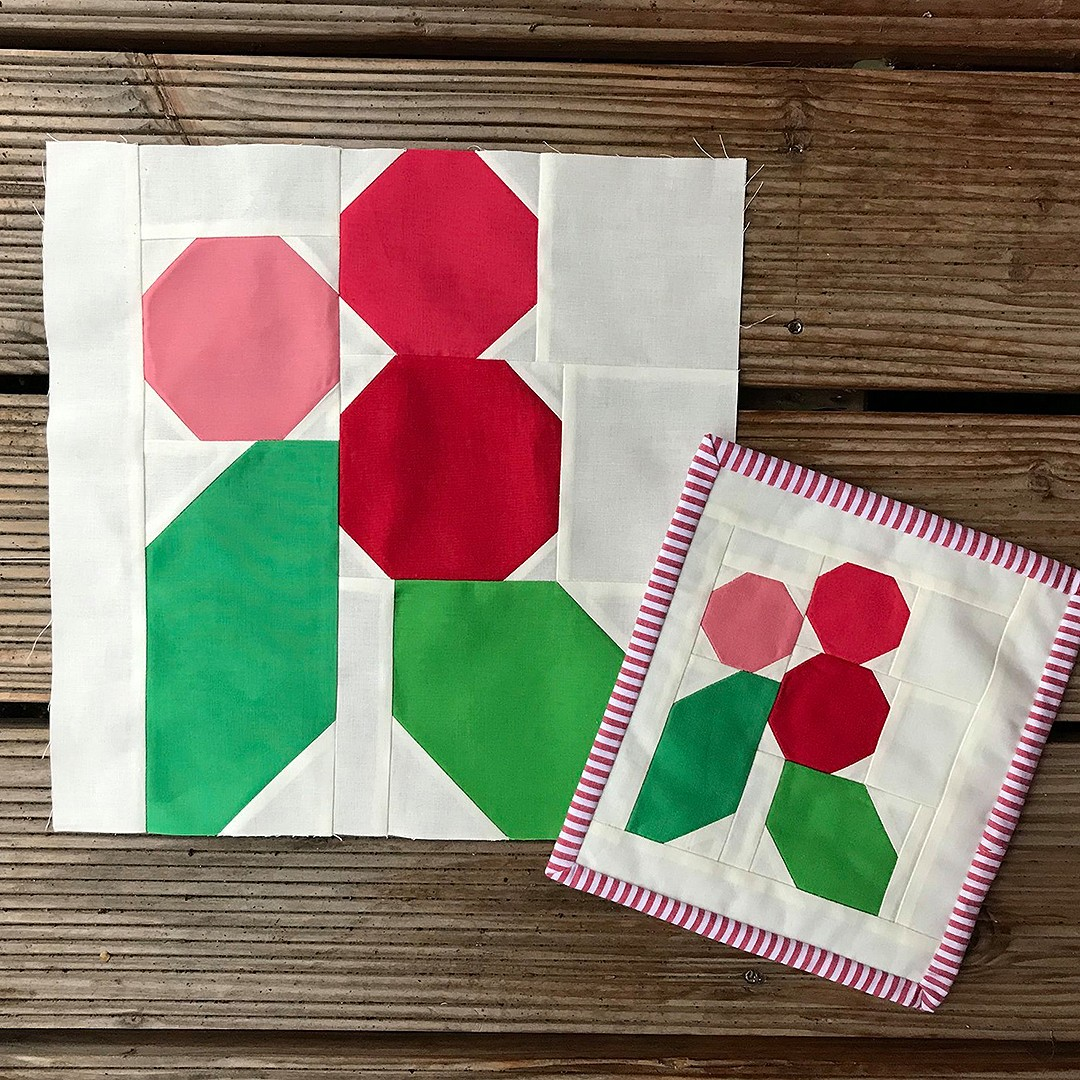Holly Berry quilt block and mini quilt