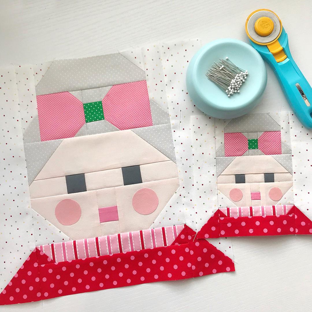 Mrs. Santa Claus quilt blocks