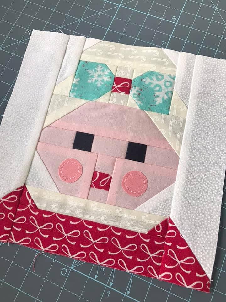 Mrs. Santa Claus quilt block