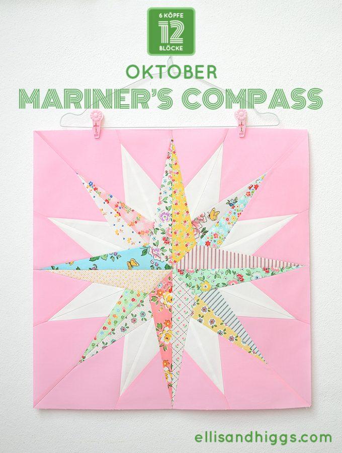6 Köpfe 12 Blöcke 2019 - Mariner's Compass Quilt Block