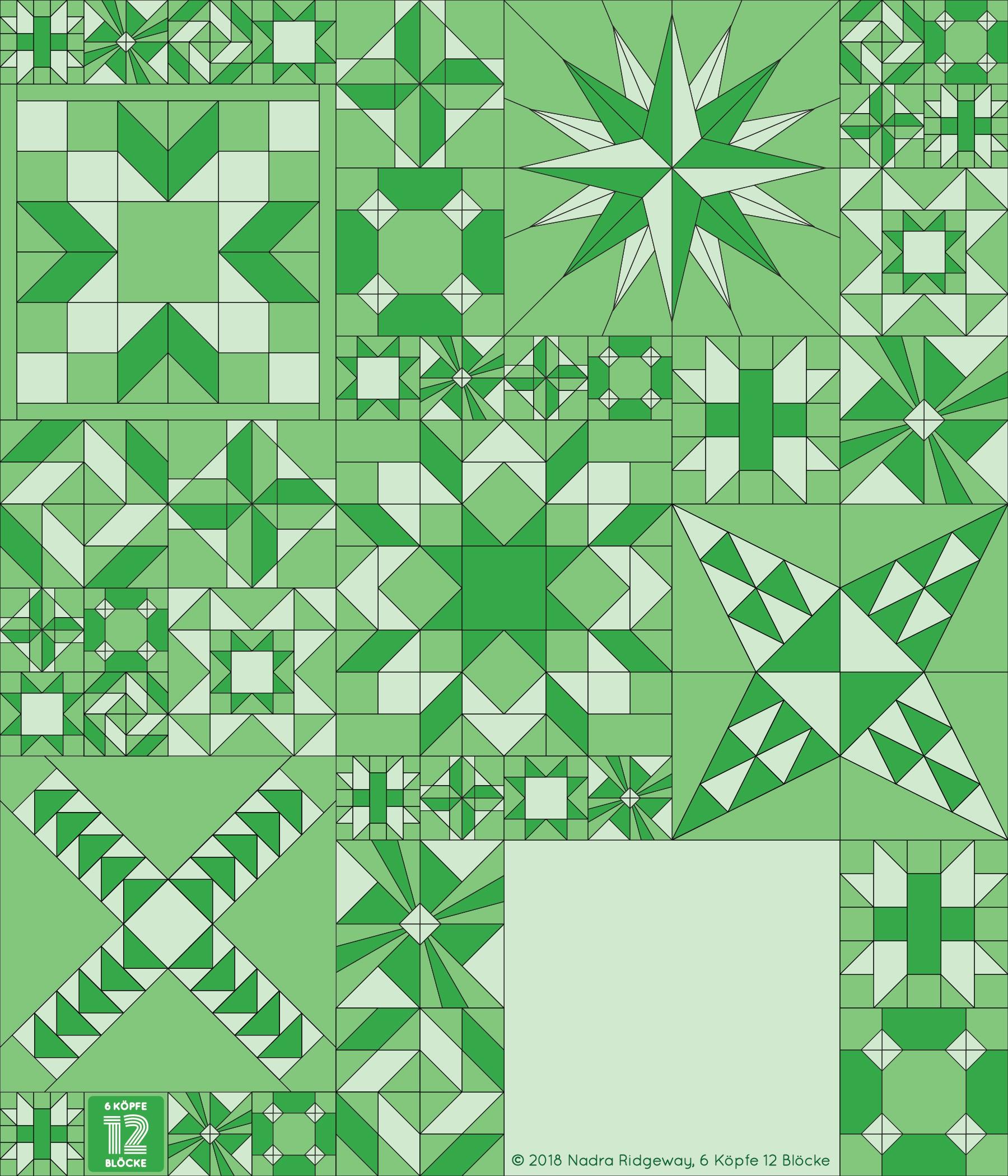6 Köpfe 12 Blöcke 2019 - Antique Mosaic Quilt Block