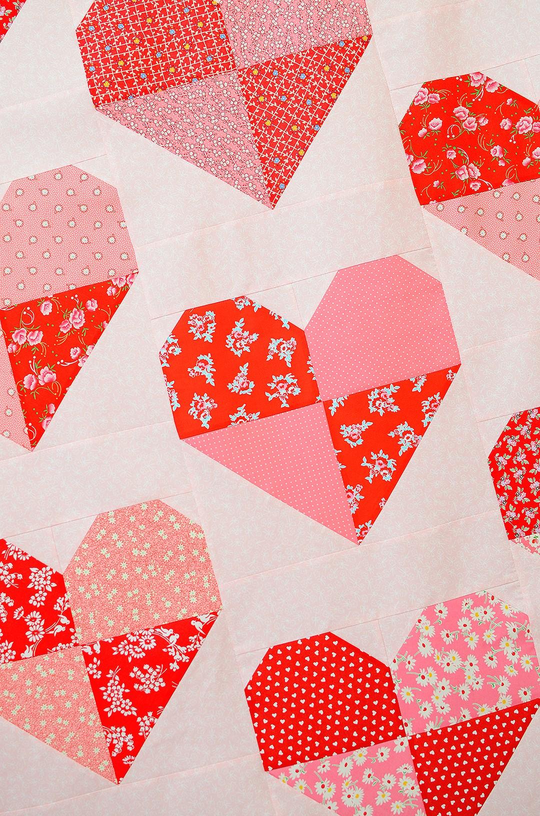 Harlequin Hearts Quilt - Heart Quilt Pattern